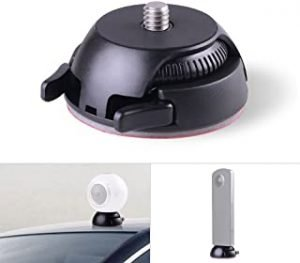 Quick Release Mount Holder Including Buckle + Flat and Curved Base Adhesive Tape Replacement for Samsung Gear 360 Camera Ricoh Theta S/SC/M15 & Sports Action Panoramic Camera w/ 1/4