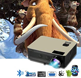 LED PROJECTOR M5+ SMART ANDROID . with 50000 H lamp life . 3500 lumens . 1280 .800 resolution . USB VEGA AV HDMI INPUT