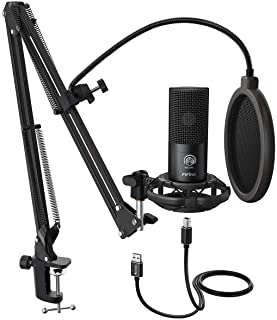 FIFINE Studio Condenser USB Microphone Computer PC Microphone Kit With Adjustable Scissor Arm Stand Shock Mount USB Cable for Voice Overs Recording Podcasting Youtube Karaoke Gaming Streaming-T669