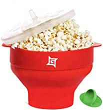 Silicone Popcorn Maker Collapsible Popcorn Bowl Microwave Popcorn Popper Popcorn Machine Maker BPA Free Healthy Pop Corn with silicone mini handles (Red Color) - GoGatt