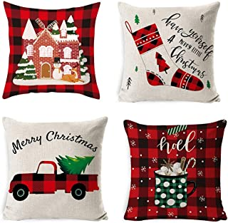 Set of 4 Christmas Pillow Covers Festival Decorations Pillow Covers Xmas Tree Deer Santa Deer Throw Waist Pillow Case Christmas Holiday Blessing Gift