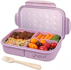 Unipurl lunch box for Adults Lunch Containers for Kids 3 Compartment Back to school Bento Box Food Containers Leak-Proof Wheat fiber material (Includes Flatware) - Purple