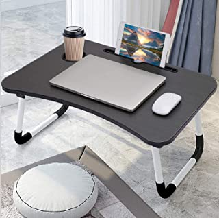 Laptop Bed Table Folding Laptop Table Tray Lap Desk Notebook Stand with ipad Holder Cup Slot Adjustable Anti Slip Legs Foldable for Indoor Outdoor Camping Study Reading Watch Movies on Couch Sofa