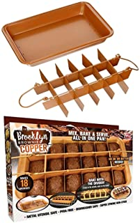 Brooklyn Brownie Copper by Gotham Steel Nonstick Baking Pan with Built-In Slicer