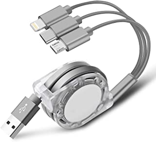 Multi USB Charger Cable Retractable 3 in 1 Multiple Charging Cord Adapter with Mini Type C Micro USB Port Connectors Compatible with Cell Phones Tablets Universal Use