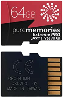 PureMemories 64GB Extreme Pro Micro SDXC Memory Card 4K Video Recording 80MB/s Read 40MB/s Write