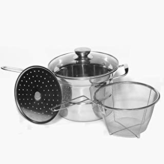 Classic Stainless 4-Pieces Pasta/Steamer Set Stainless Steel 2.5-qt. Stockpot with Glass Cover