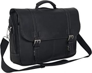 Kenneth Cole Reaction Show Business Full-Grain Colombian Leather Dual Compartment Flapover 15.6-inch Laptop Porfolio