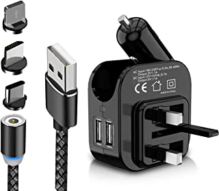 JIDREAM Cable 3in1 Magnetic Cable 1m For Power Bank iPhone Samsung 2.4A Fast Charging Type C Lightning Micro with LED indicator and gift