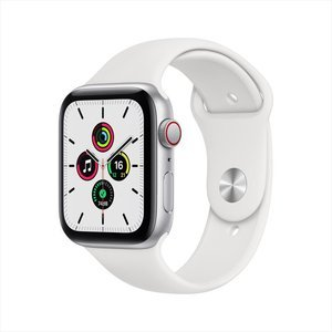 Apple Watch SE GPS+Cellular 44mm Silver Aluminum Case with White Sport Band