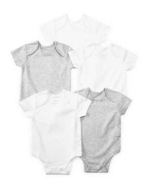 5 Pack of Grey Short Sleeve Bodysuits