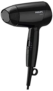 Philips Essential care. ThermoProtect. Foldable. 1200W. DC motor. 3 heat/speed settings + cool shot. no ions. Easy storage hook. concentrator. 1.5m. 3 pin. Black. BHC010/13