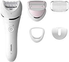 Philips Epilator Series 8000.Wet and Dry Cordless Hair Removal for Legs and Body with 5 Accessories.Shaving head and trimming comb. 3 pin. White. BRE710/01