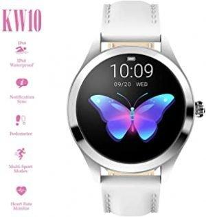 Anself KINGWEAR KW10 Smart Watch Sportwatch Women IP68 Waterproof Heart Rate Monitoring BT Fitness Tracker for Android IOS Fitness Bracelet Smartwatch