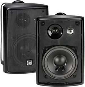 Dual Electronics LU43PB 3-Way High Performance Outdoor Indoor Speakers with Powerful Bass pair LU43PB