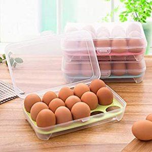 AMERTEER Egg Holder for Refrigerator with Lid