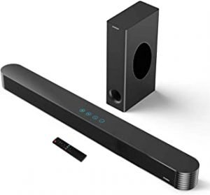 Sound Bars for TV Soundbar with Subwoofer Bluetooth 140W 27inch DSP HIFI 3D Surround Sound 2.1 Soundbar Speaker Touch & Remote Control Support Optical/AUX/USB/Coaxial/SUB OUT for TV PC Tablet Phone
