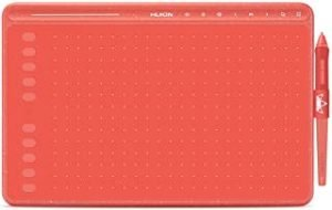 HUION HS611 Graphics Drawing Tablet Pen Tablet with a Media Bar and PW500 8192 Pressure Sensitivity (Red)