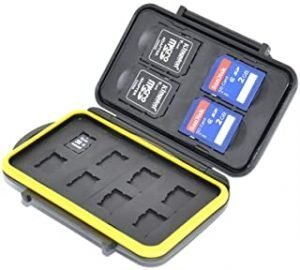 JJC MC-SDMSD12 Rubber Sealed Water Resistant Memory Card Case fits for 4 SD Cards and 8 Micro SD Cards