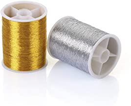 LIANTINGZHENG 2pcs Gold/Silver 100m Durable Overlocking Sewing Machine Threads Polyester Cross Stitch Strong Threads For Sewing Supplies (Color : Gold 100m)