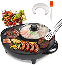 Smokeless Non-Stick Indoor 2 in 1 BBQ Grill & Hot Pot With 5Pcs Barbecue Papers and a Silicone Brush with UK Standard Plug Multi-Function Electric Barbecue Oven for Party Family gathering