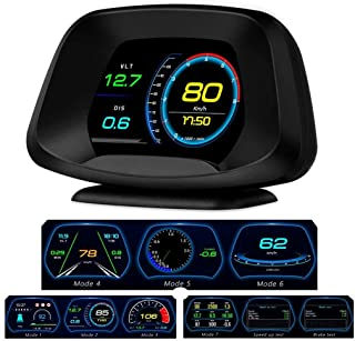 BNTTEAM P19 Navigation Version HUD Head up Display GPS/OBD2 Dual System HD Color Screen Ai Intelligence GPS/OBD Computer Date/Speeding Warning/Goodle Map 4 in 1