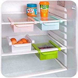 Fridge Storage Organiser,Plastic Kitchen Refrigerator Storage Rack Freezer Shelf Fruit Handled Kitchen Collecting Box Basket Rack Stand Basket Container Holder Kitchen Space Saver Organization