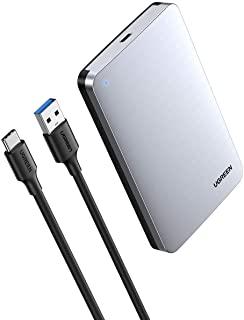 UGREEN USB C Hard Drive Aluminum Enclosure 2.5 inch USB 3.1 Type C to SATA Disk Case External Reader USB C 3.1 Gen 2 Thunderbolt 3 UASP Compatible for 7mm 9.5mm SATA 2.5 HDD SSD
