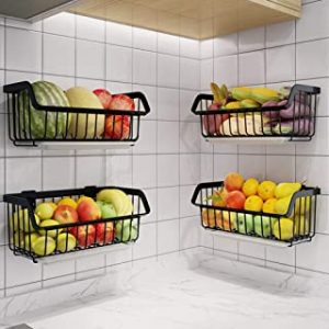 Wire Storage Basket - Stackable Hanging Wall Shelf - Fruit Vegetable Organization – Pantry Cabinet - Metal Bin for Kitchen Counter – Bathroom Shelves Storage- Set of 2 Baskets (black)