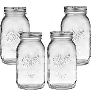 CharmCollection 32 oz Bundle for Ball Mason Jars Set of 4 Glass Canning Jars - Canning Glass Jars with Lids