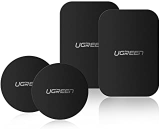 UGREEN Metal Plate Magnetic Patch 4 Pack Replacement Magnet Plate Car Kit Sticky Magnetic Phone Sticker Self Adhesive Pad Thin Magnet Disc for Car Vent Dash Mount Holder Cradle-2 Round 2 Rectangle