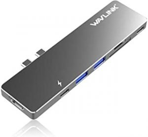 WAVLINK Aluminum Type-C Pro Hub Adapter with 40Gbs USB C/ 4K HDMI/Pass-Through Charging/SD/Micro SD Card Reader and 2 USB 3.0 Ports 2016/2017/2018/2019 MacBook Pro 13-Inch and 15-Inch (Gray)