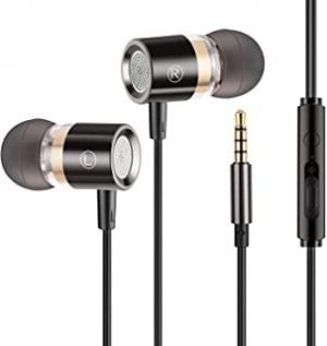 Earbuds Ear Buds Earphones Headphones Noise Isolating with Microphone and Volume Control Powerful Bass for iPhone iPod iPad Samsung HTC Tablets Laptop Mp3 Mp4 Players