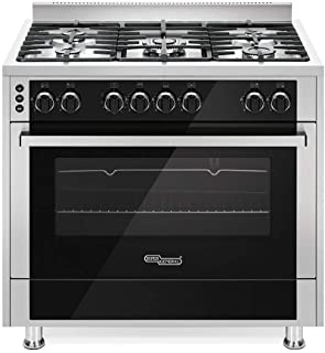 Super General 5 Burner Full-Safety Gas-Cooker/ Steel-Cooker/Gas-Oven/ Automatic Ignition/ Thermostat/ Rotisserie/ Silver/ 90x60x85 cm/ SGC916FSBGOF