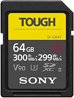 Sony Tough High Performance 64GB SDXC UHS-II Class 10 U3 Flash Memory Card with Blazing Fast Read Speed up to 300MB/s (SF-G64T/T1)