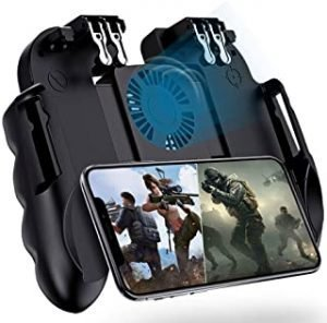 "OKJ 4 Trigger Mobile Game Controller with Cooling Fan for PUBG/Call of Duty/Fotnite [6 Finger Operation] L1R1 L2R2 Gaming Grip Gamepad Mobile Controller Trigger for 4.7-6.5"" iOS Android Phone"