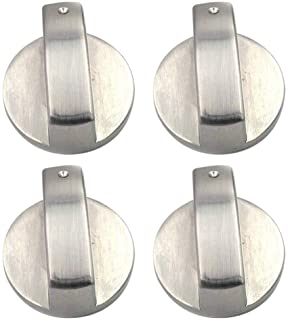 Yardwe 4pcs Metal Round Gas Stove Knobs Cooker Oven Hob Control Switch Button Gas Stove on off Knob Replacement