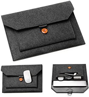 "Acoki 13-13.3"" Laptop Sleeve Felt Ultralight Notebook Tablet IPAD Case Multi-pocket Pouch Bag Briefcases for Apple Macbook/Asus/Acer/Dell/HP/Lenovo -Dark Grey"