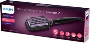 Philips StyleCare Essential Heated straightening brush. Extra large brush area. Tourmaline ceramic coating. 2 temperature settings. 3 pin. Black/Purple BHH880/03