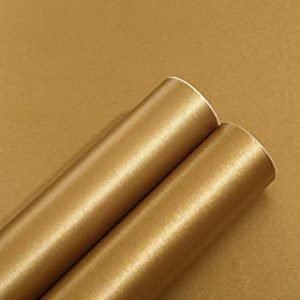 Peel and Stick Gold Brushed Metal Stainless Steel Contact Paper for Dishwasher Fridge Refrigerator Stove Appliances Self Adhsesive Vinyl Film Stainless Steel Wallpaper Removable 15.7x117 Inches