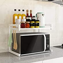 Micro Oven Rack Expandable Horizontal Extension Holder for Kitchen Organizer and Storage Carbon Steel Stand Shelves