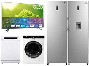 evvvoli 65 Inch QLED + 14 Place Setting Dishwasher + 10 KG Wash Dryer + Twin Fridge and Freezer