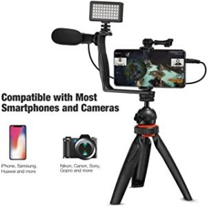 COOPIC 4 in 1 Vlogging Live Broadcast LED Selfie Light Smartphone Video Rig Kits with Microphone + Tripod Mount + Cold Shoe Tripod Head for iPhone Galaxy Huawei Xiaomi HTC LG Google Smartphones