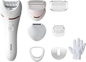 Epilator Series 8000.Wet and Dry Cordless Hair Removal for Legs and Body with 8 Accessories.Shaving head and trimming comb. Exfoliation glove. 3 pin