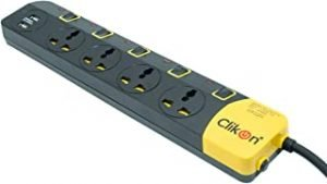 CLIKON - 4 WAY EXTENSION SOCKET WITH 2x USB OUTPUT FOR MOBILE PHONES & TABLETS