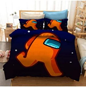 Among Us Gamer Bedding Set Comforter Cover Video Game Duvet Cover 3D Kids Printed Quilt Cover Soft Microfiber Bedspread Bedroom (Color : B
