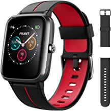 FKANT Smart Watch Fitness Trackers GPS Fitness Watch with Heart Rate Sleep Monitor 5ATM Waterproof Pedometer Calorie Counter Pet Feeding Dial Swimming Mode Activity Tracker (black red)