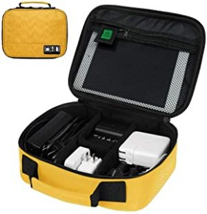 Rubik Universal Electronics Travel Organizer Bag Hard Drive Case for Various USB Phone Cable Charger SD Card Earphone Power Bank Calculator Customize Inside with Dividers (Yellow)