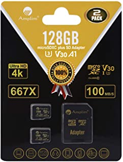 2-Pack 128GB Micro SD SDXC Card Plus Adapter Pack - Amplim 2X 128 GB MicroSD Card V30 A1 U3 C10 Extreme Speed 100MB/s UHS-I TF XC MicroSDXC Memory Card for Cell Phone