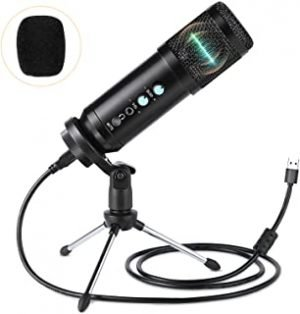 infinitoo USB Microphone with Tripod Professional Condenser Computer Cardioid Mic Kit with Mute Key